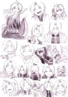 Edward Elric - Sketch Epressions by DigiAngeFan