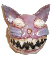 Grinning Cat Head by aberrantceramics