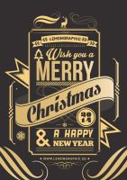 Christmas card typography gold stamp 2014 by Lemongraphic
