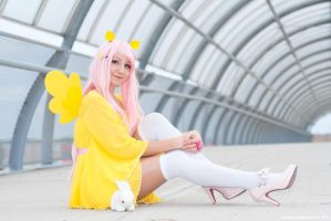 Fluttershy and Angel Bunny by Saru-Cosplay