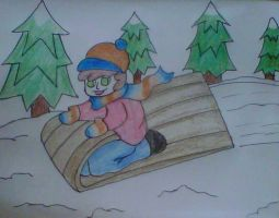 boy on sled christmas card by crochetamommy
