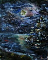 Sea and full moon in the night by theunearthly