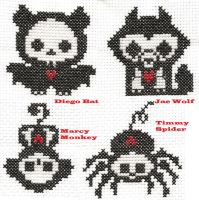 Skelanimals: 4 patch stitch by Sew-Madd