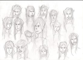 Elf-Vampire facial expressions by Jaquina