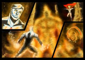 Captain Atom and Powergirl - Flame of Py'tar by adamantis