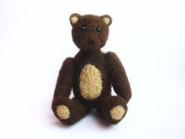 Needle-felted teddy bear by Scarygothgirl
