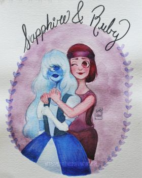 Sapphire and Ruby-watercolor by Beetlehood