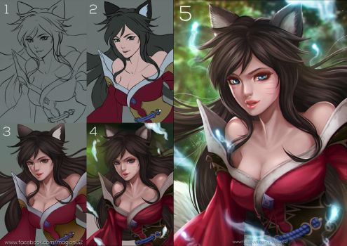League of Legends Ahri process by magion02