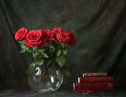 roses and books by Volodina-Yulia