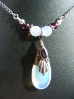 Opalite Tear and Garnet Necklace by BacktoEarthCreations