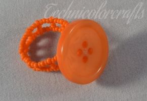 Orange Beaded Button Ring by technicolorcrafts