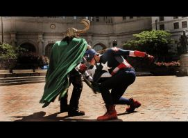 The Avengers: Cap vs Loki by Ravenspiritmage