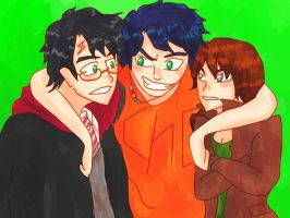 Harry, Percy and Katniss by blackrouse1