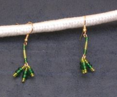 Green Tridrop Earrings by LadyTal