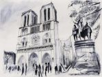 For sale original - Front of Notre-Dame - Paris by nicolasjolly