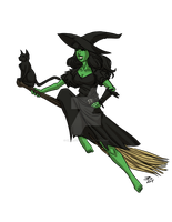 Drawlloween2015: Witch and Black Cat by ProdigyDuck