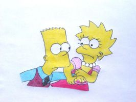 Lisa n Bart running coloured by Shagggy1987