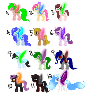 12 Pixie Pony Adopts! -OPEN- PRICE REDUCED by Wolfpup5197-Adopts