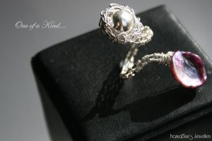 Wire Wrapped Silver Ring by FranyaBlue