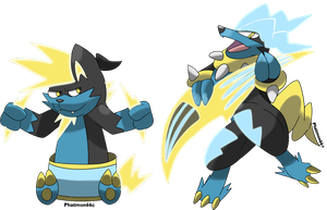 Fakemon Thundrum and Rockineer by Phatmon66