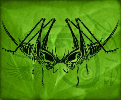 Grasshopper Tribal Tattoo Design by Amoebafire