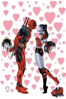 Deadpool and Harley Quinn kiss by seanforney