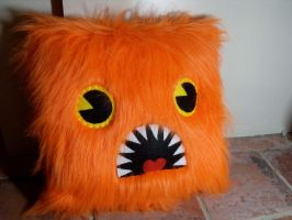 Orange Monster Pillow by Bee-Delicious