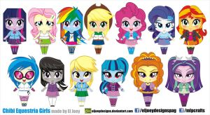 Chibi Equestria Girls by ELJOEYDESIGNS