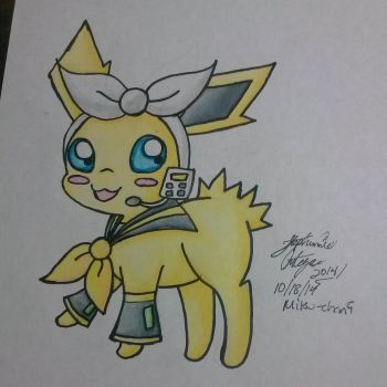 Jolteon as rin kagamine crossover by Miku-chan9