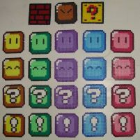 Hama Beads - Mario blocks by acidezabs