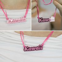 Kawaii necklace in pink by superorangestudio