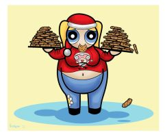 Obese teen Bubbles and TWO plates of yummy cookies by Vickybo
