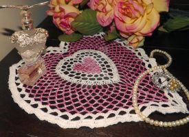 Heart within a heart doily by buttercupminiatures