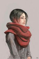 my red scarf by y-u-k-i-k-o