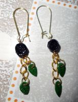 Black roses earrings by Angi-Shy