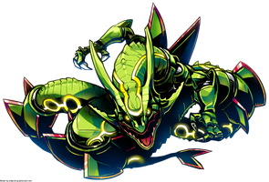 Pokemon Rayquaza fanart render by OneExisting