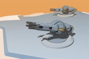 Quad particle gunturret by Scifiwarships