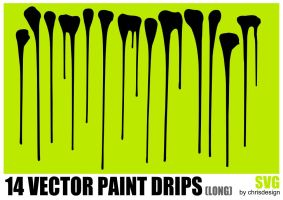14 Vector Paint drips (long) by Chrisdesign