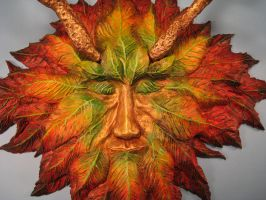 Green Man colorful version autumn leaves 2 by RavendarkCreations