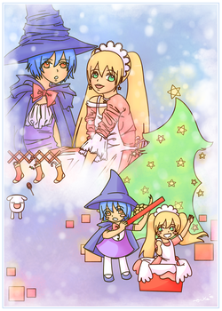 Konni and Chiwa Xmas-v by mangadrawerika91