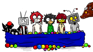 the red scarf squad ball pit by CrypticConversation