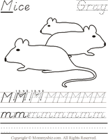 Mommysbiz | M-Mice-Gray Preschool Worksheet by DanaHaynes