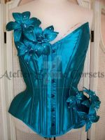 Blue Silk overbust corset by AtelierSylpheCorsets