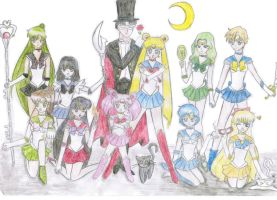Sailor Scouts and Tuxedo Mask by fatpear
