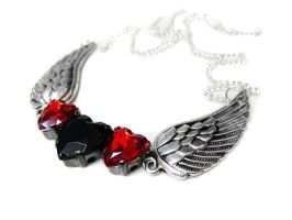 Angel Wing Rhinestone Necklace by pila12903
