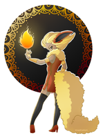 Human Flareon - For Flarechess by XAngelFeatherX