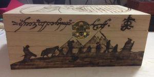 Lord of the Rings wooden box (front) by Grimfiendfyre