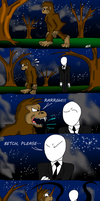 Slender Man meets Bigfoot by ElectricLimeRose