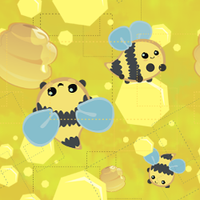 yellow of bees tile wallpaper by Kna