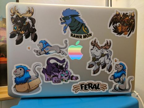 New laptop and some snazzy stickers! by CatusDruidicus